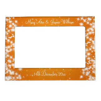 Elegant Wedding Names Winter Sparkle Orange Magnetic Photo Frame