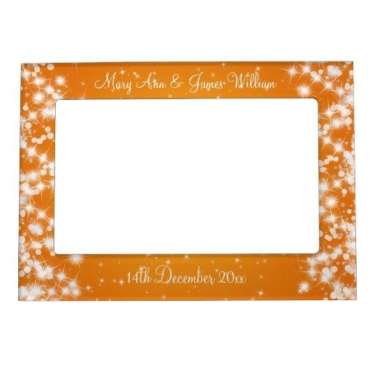 Elegant Wedding Names Winter Sparkle Orange Magnetic Picture