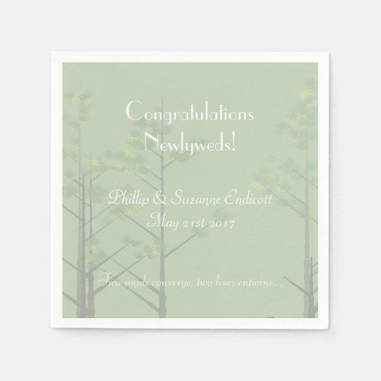 Elegant Wedding Newlyweds Sage Green Tree Art Paper