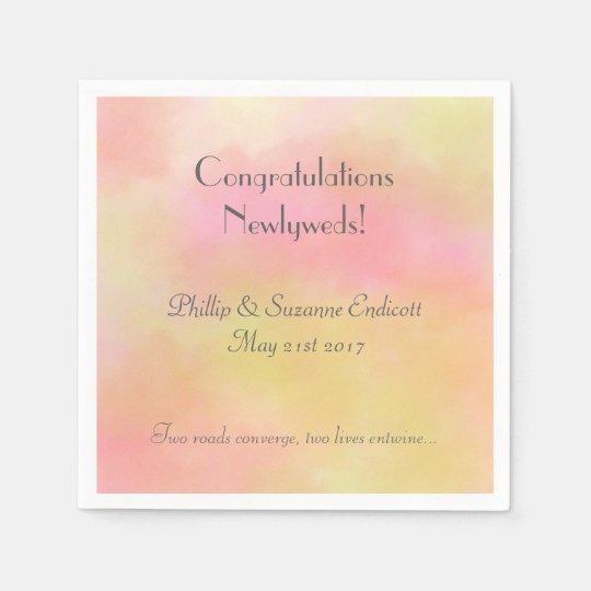 Elegant Wedding Newlyweds Yellow Pink Watercolor Disposable