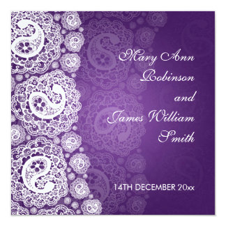 Elegant Wedding Paisley Lace Purple Card