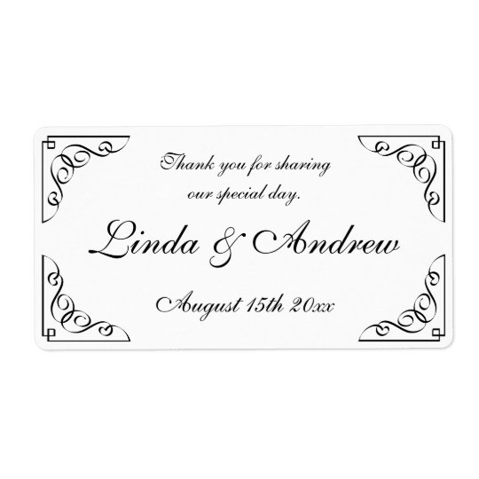 Elegant wedding party favour water bottle labels