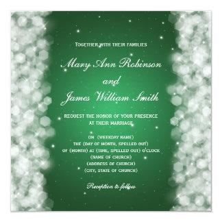 Elegant Wedding Party Sparkle Emerald Green 13 Cm X 13 Cm Square Invitation Card