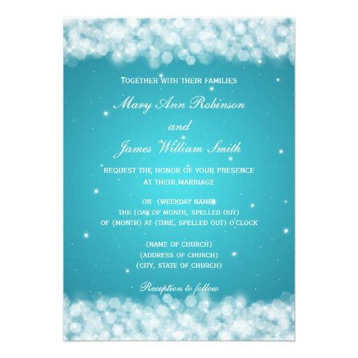 Elegant Wedding Party Sparkle Turquoise Custom Announcement