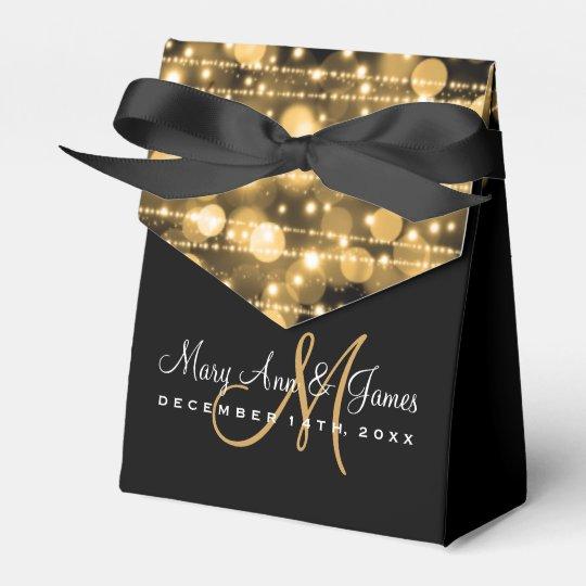 Elegant Wedding Party Sparkles Gold Favour Box