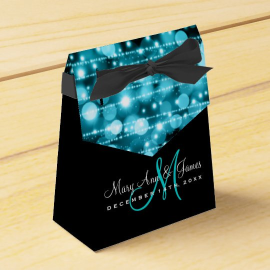 Elegant Wedding Party Sparkles Turquoise Favour Box