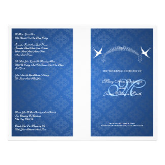 Elegant Wedding Program Birds Monogram Blue Custom Flyer