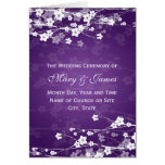 Elegant Wedding Program Cherry Blossom Purple Cards