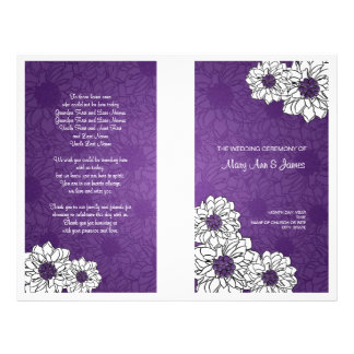 Elegant Wedding Program Dahlia Floral Purple Flyer Design