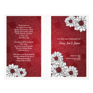 Elegant Wedding Program Dahlia Floral Red Flyer