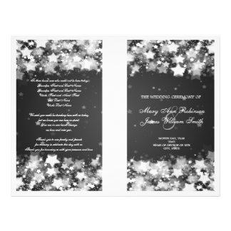 Elegant Wedding Program Dazzling Stars Black 21.5 Cm X 28 Cm Flyer