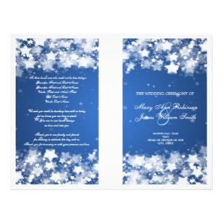 Elegant Wedding Program Dazzling Stars Blue 21.5 Cm X 28 Cm Flyer