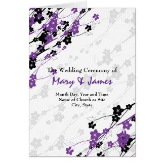 Elegant Wedding Program  Japanese Flowers Purple