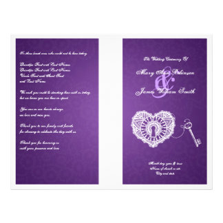 Elegant Wedding Program Key To My Heart Purple 21.5 Cm X 28 Cm Flyer