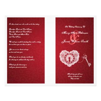 Elegant Wedding Program Key To My Heart Red 21.5 Cm X 28 Cm Flyer