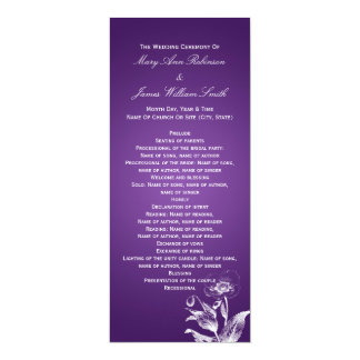 Elegant Wedding Program Poppy Purple