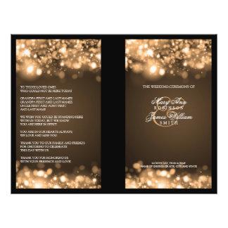 Elegant Wedding Program Sparkling Lights Gold 21.5 Cm X 28 Cm Flyer