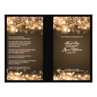 Elegant Wedding Program Sparkling Lights Gold Flyer