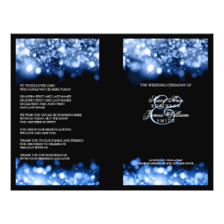 Elegant Wedding Program Sparkling Lights Sapphire Flyer
