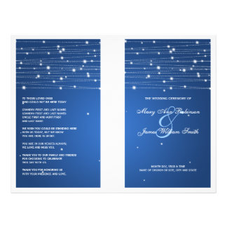 Elegant Wedding Program Sparkling Lines Sapphire 21.5 Cm X 28 Cm Flyer