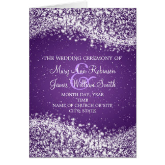 Elegant Wedding Program Sparkling Wave Purple Card