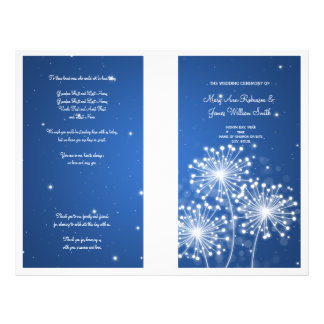 Elegant Wedding Program Summer Sparkle Sapphire Flyer