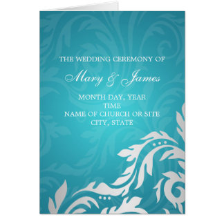 Elegant Wedding Program Swirly Flourish Aqua Blue Greeting Card