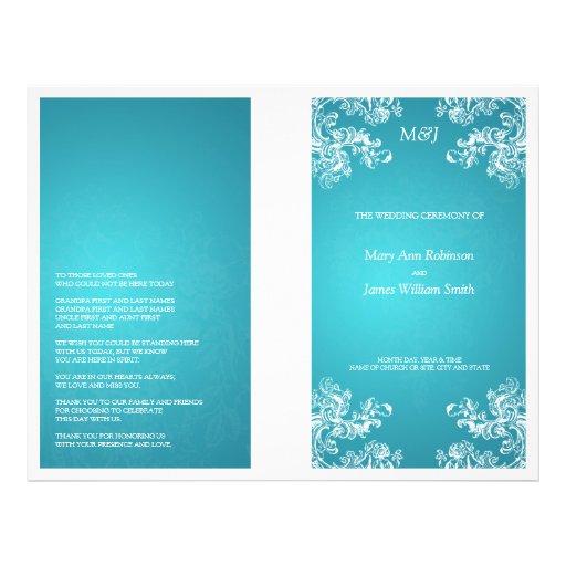 Elegant Wedding Program Vintage Swirls 2 Turquoise Personalized Flyer