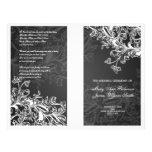 Elegant Wedding Program Vintage Swirls Black Full Color Flyer