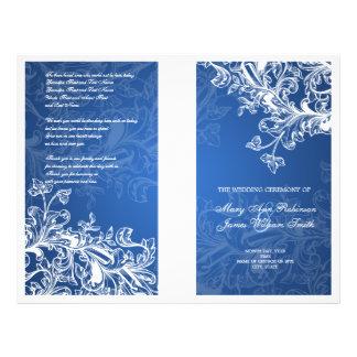 Elegant Wedding Program Vintage Swirls Blue 21.5 Cm X 28 Cm Flyer