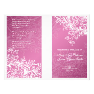Elegant Wedding Program Vintage Swirls Pink Flyer