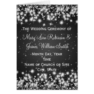 Elegant Wedding Program Winter Sparkle Black Greeting Card