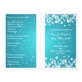 Elegant Wedding Program Winter Sparkle Blue 21.5 Cm X 28 Cm Flyer