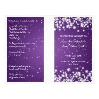 Elegant Wedding Program Winter Sparkle Purple 21.5 Cm X 28 Cm Flyer