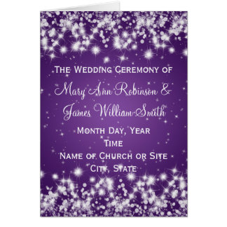Elegant Wedding Program Winter Sparkle Purple Greeting Card