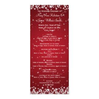 Elegant Wedding Program Winter Sparkle Red