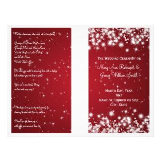 Elegant Wedding Program Winter Sparkle Red 21.5 Cm X 28 Cm Flyer