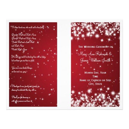 Elegant Wedding Program Winter Sparkle Red Custom Flyer