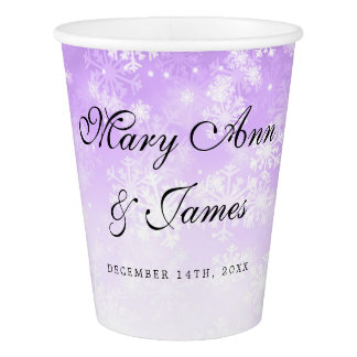 Elegant Wedding Purple Winter Wonderland Paper Cup
