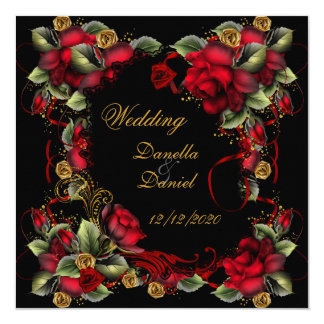Elegant Wedding Red Roses Gold Black Card