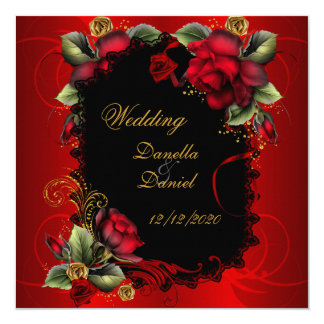 Elegant Wedding Red Roses Gold Card