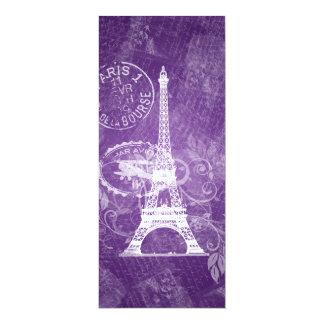 Elegant Wedding Romantic Paris Purple 10 Cm X 24 Cm Invitation Card