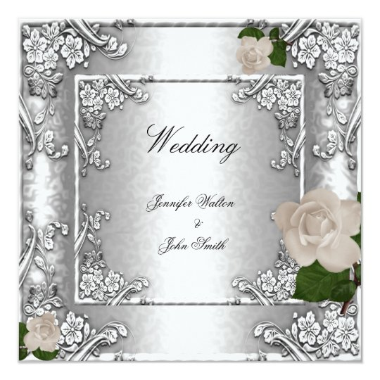 Elegant Wedding Rose Silver White 2 Card