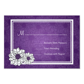 Elegant Wedding RSVP Dahlia Floral Purple Card