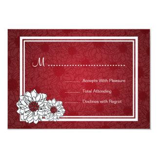 Elegant Wedding RSVP Dahlia Floral Red Card