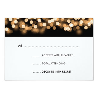Elegant Wedding RSVP Gold Hollywood Glam Card