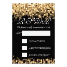 Elegant Wedding RSVP Gold Lights