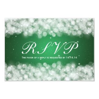 Elegant Wedding RSVP Party Sparkle Emerald Green Card