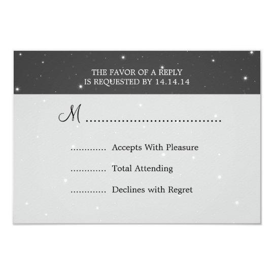 Elegant Wedding RSVP Sparkling Chain Black Card