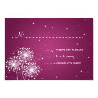 "Elegant Wedding RSVP Summer Sparkle Merlot Pink 3.5"" X 5"" Invitation Card"